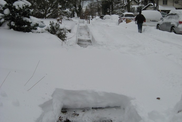 ... to shoveling - the experiential part.  (All right, it's of the first snowstorm, but they all look much the same.)