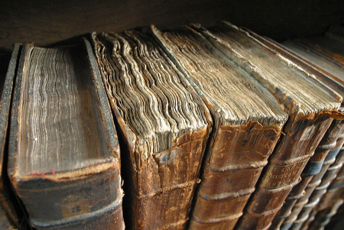 Old book bindings at Merton College Library, Oxford